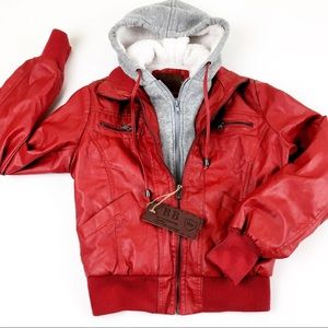NWT B&B Red Faux Leather Jacket